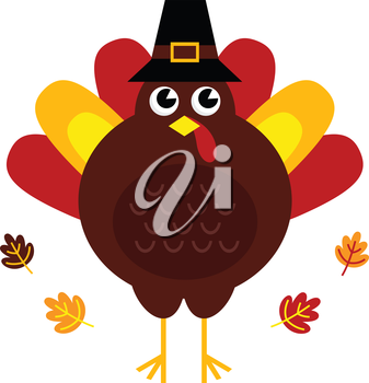 Stylized brown turkey with leaves behind. Vector illustration