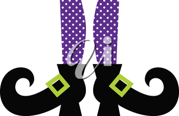 Purple dotted witch legs. Vector cartoon Illustration
