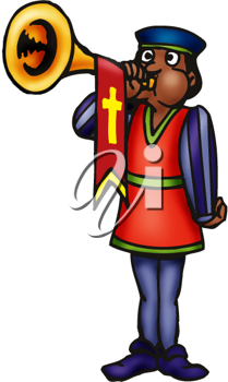 Royalty Free Clipart Image of a Guy Blowing a Horn