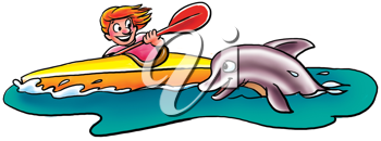 Royalty Free Clipart Image of a Kayaker and Dolphin