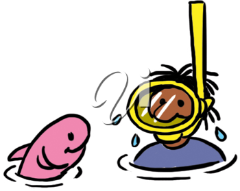 Royalty Free Clipart Image of a Snorkeler With a Fish