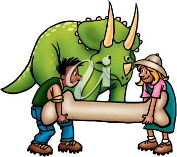 Royalty Free Clipart Image of Two People With a Triceratops and a Bone