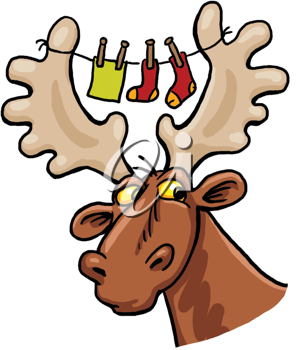 Royalty Free Clipart Image of a Moose With Clothes Hanging Between Its Antlers