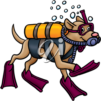 Royalty Free Clipart Image of a Dog in Flippers