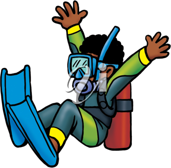 Royalty Free Clipart Image of a Scuba Diver Jumping In