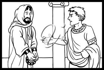 Royalty Free Clipart Image of a Man Talking to a Man in Chains
