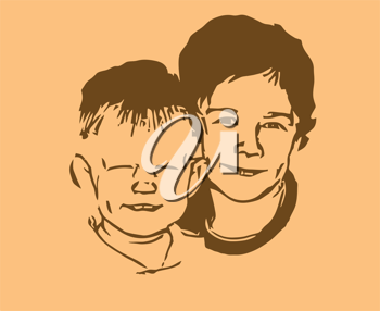 Royalty Free Clipart Image of Two Boys