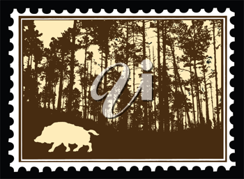 Royalty Free Clipart Image of a Wild Boar Postage Stamp