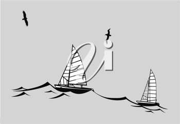 Royalty Free Clipart Image of Boats in the Water