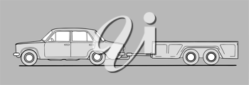 Royalty Free Clipart Image of a Car and Trailer