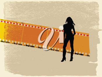 Royalty Free Clipart Image of a Woman and Film