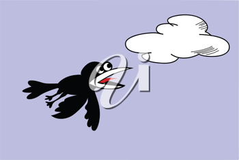 Royalty Free Clipart Image of a Bird Flying