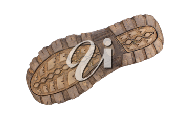 Boot sole on a white background.