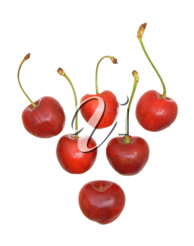 Sweet cherry fruits on a white background.