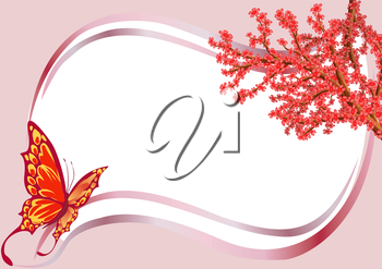 Frame with a butterfly and flowering branch of a tree, file EPS.8 illustration.