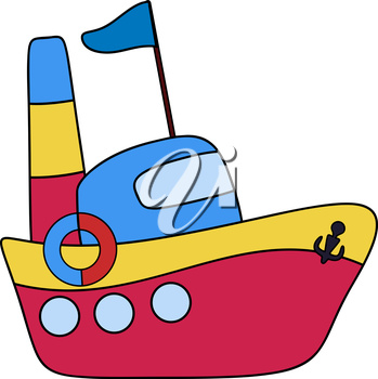 Steamboat passenger childlike drawing, EPS8 - vector graphics.