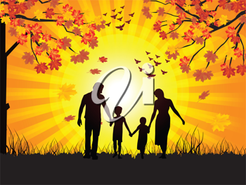 Royalty Free Clipart Image of a Family Walking in Autumn