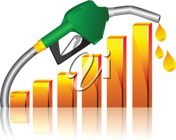 Royalty Free Clipart Image of a Dripping Fuel Hose With a Bar Graph
