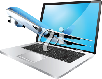 Royalty Free Clipart Image of a Plane Coming Out of a Computer