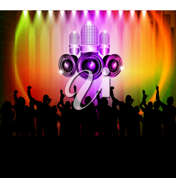 Royalty Free Clipart Image of People at a Club