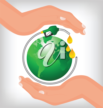 Royalty Free Clipart Image of Two Hands Around a Gas Hose Around a Green Globe