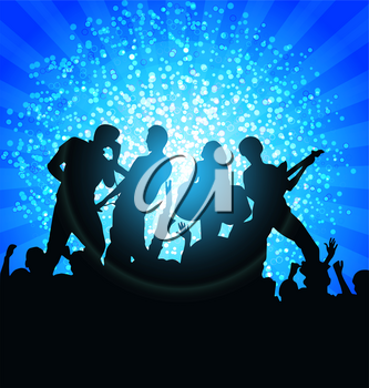 Royalty Free Clipart Image of a Band at a Discotheque