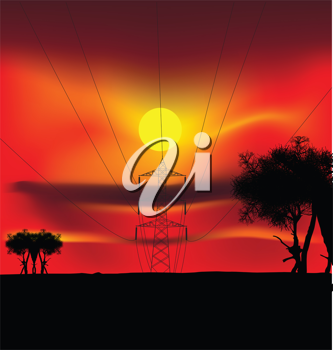Royalty Free Clipart Image of Power Lines at Sunset