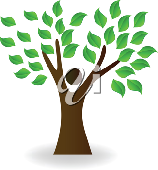 Royalty Free Clipart Image of a Tree With Green Leaves