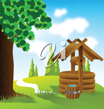 Royalty Free Clipart Image of a Wooden Wishing Well on a Landscape