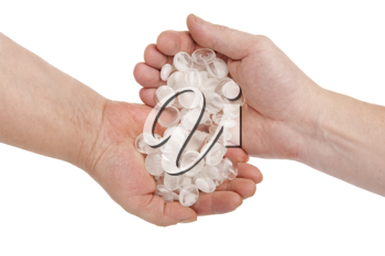 Royalty Free Photo of Hands With Pellucid Stones