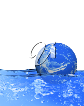 Royalty Free Clipart Image of a Globe Floating