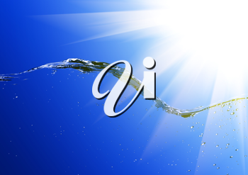 Royalty Free Clipart Image of a Water Splash and Sunlight