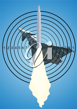 Royalty Free Clipart Image of a Missile Target Aiming at an Airplane