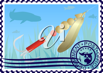 The illustration on a postage stamp. Fishing tackle. Lure fishing for pike.