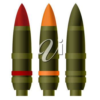 A set of artillery shells. The illustration on a white background.