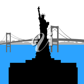 Contour of the Statue of Liberty on the background of the bridge.