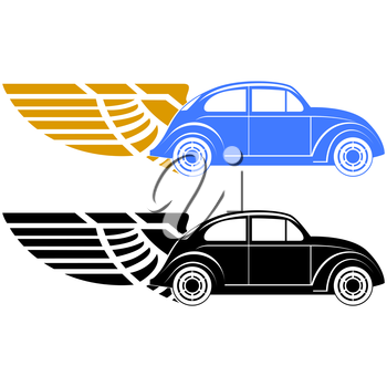 Abstract car on abstract wings. The illustration on a white background.