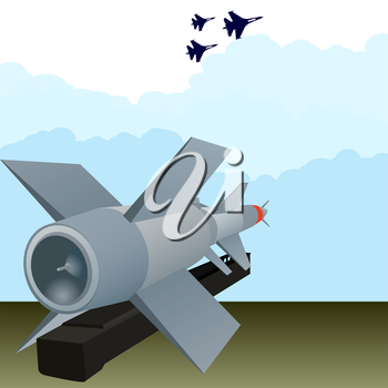 Missile air defense units and military aircraft in the sky.