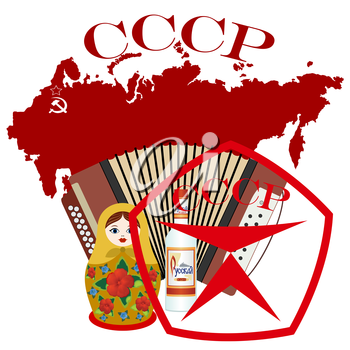 Soviet and Russian souvenirs. The illustration on a white background.