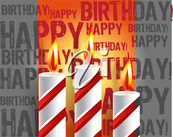 Royalty Free Clipart Image of a Happy Birthday Background with Burning Candles