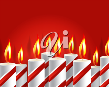 Royalty Free Clipart Image of a Red Background with Burning Candles