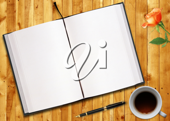 Royalty Free Photo of an Open Book, Cup of Coffee, Flower and a Pen on a Wood Table
