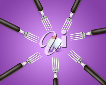 Royalty Free Photo of Seven Forks on a Purple Background With a Frosted Cupcake in the Center