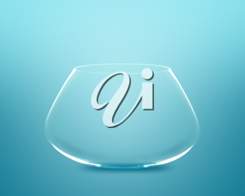 Royalty Free Photo of an Empty Fishbowl on a Blue Background