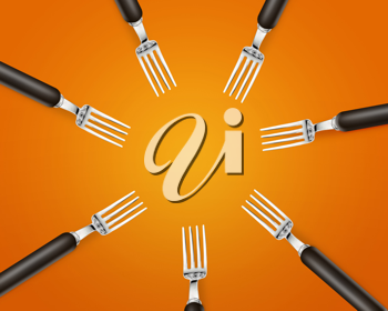 Royalty Free Photo of Forks Arranged in a Circle