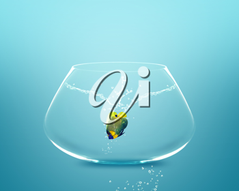 Royalty Free Photo of an Angelfish in a Fishbowl