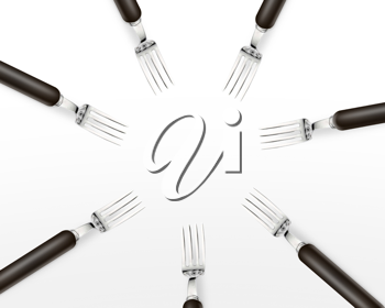 Royalty Free Photo of a Seven Forks Facing Each Other Creating a Circle on a White Background