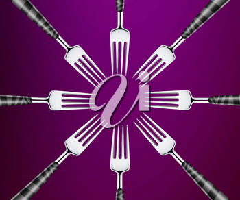 Royalty Free Photo of a Set of Forks Forming a Circle