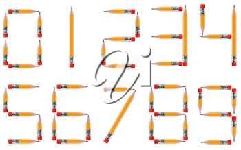 short Pencils isolated on white background arranged to create shape of numbers