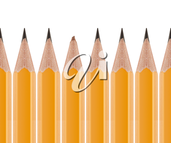 Royalty Free Photo of a Row of Sharpened Pencils and One with a Broken Tip